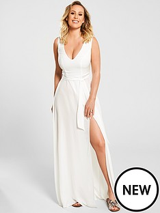 fb252f311e51b Kate Wright Sheer Textured Beach Plunge Maxi Dress - White