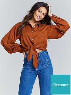 michelle-keegan-cropped-tie-front-blouse-spice