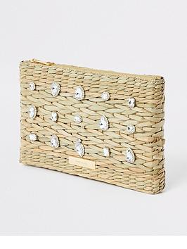 f3471658e7 River Island River Island Embellished Weave Clutch - Beige. View larger