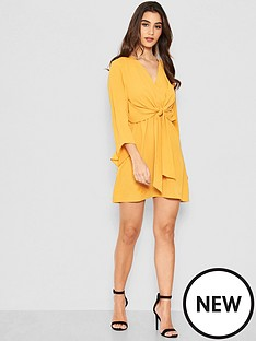 ax-paris-petite-tie-front-dress-yellow