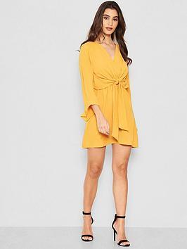 ax-paris-petite-tie-front-dress-yellow