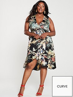 ax-paris-curve-floral-print-wrap-dress-black
