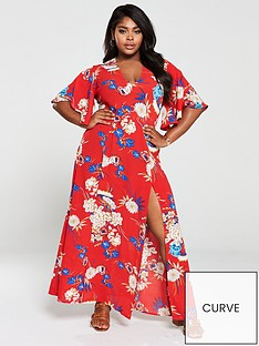 ax-paris-curve-blooming-bell-sleeve-dress-red
