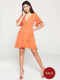 ax-paris-ruffled-wrap-dress--nbsporange