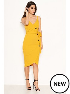 ax-paris-button-front-dress-yellow