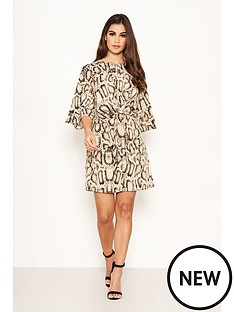 ax-paris-snake-print-knot-dress-grey