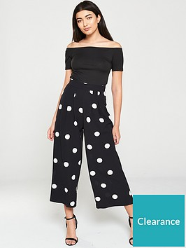 ax-paris-polka-dot-printed-jumpsuit-black
