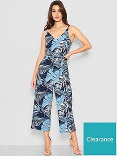 ax-paris-petite-tropical-print-jumpsuit-blue