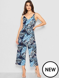 ax-paris-petite-tropical-print-jumpsuit-blue