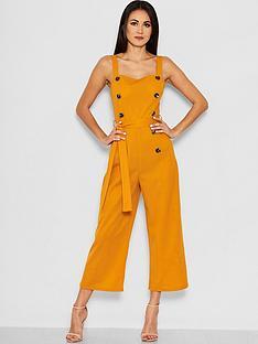 ax-paris-petite-button-front-jumpsuit-mustard