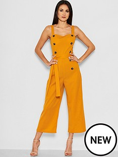 ax-paris-petite-button-front-jumpsuit-mustard