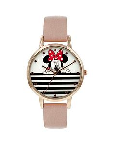 disney-minnie-mouse-white-and-black-stripe-dial-nude-leather-strap-ladies-watch