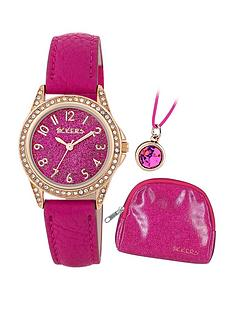 tikkers-tikkers-pink-giltter-and-gold-detail-dial-pink-leather-strap-kids-watch-with-matching-purse-and-necklace-gift-set