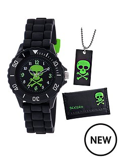 tikkers-tikkers-black-and-neon-green-skull-dial-black-silicone-strap-kids-watch-with-matching-wallet-and-dogtag