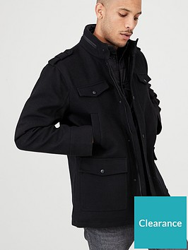 very-man-wool-mix-military-jacket-black