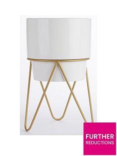 white-planter-with-copper-stand