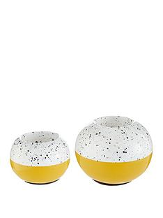 set-of-2-ochre-and-white-tealight-holders