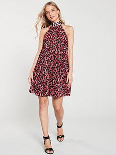 1a19c603e626 River Island River Island Red Print Halterneck Pleated Dress- Red