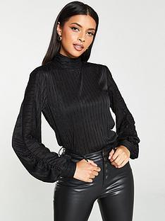 v-by-very-stripe-blouson-sleeve-top-black