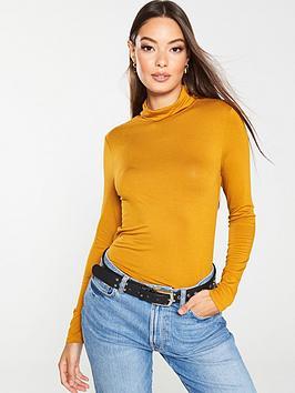 v-by-very-roll-neck-top-mustard