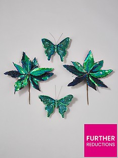 gisela-graham-4-packnbsppoinsettia-amp-butterfly-clip-on-tree-decorations