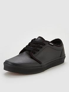 vans-106-vulcanized-childrens-leather-trainers-black