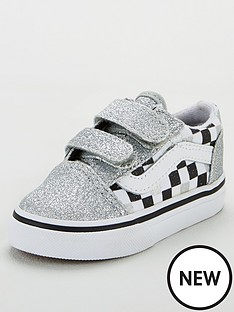 08374ab4c Vans Old Skool Checkerboard Toddler Trainers - Silver Glitter