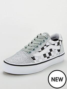 538c5c6845ed Vans Old Skool Checkerboard Childrens Trainers - Silver Glitter ...