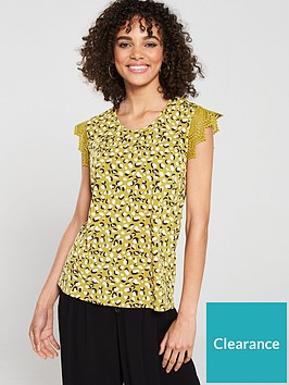 v-by-very-lace-trim-printed-top-mustard