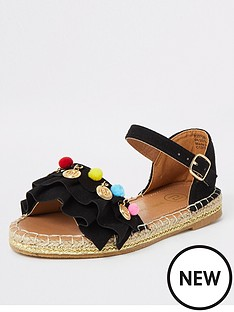 river-island-girls-pom-pom-espadrille-sandals-black