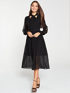 v-by-very-lace-trim-soft-woven-midi-dress-black