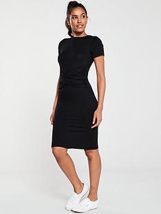 v-by-very-knotted-centre-jersey-dress-black