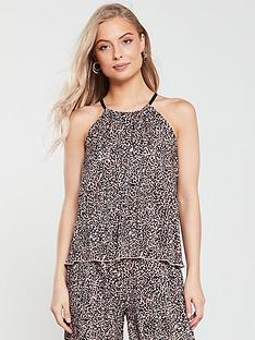 v-by-very-animal-plisse-co-ord-halter-neck-top-leopard