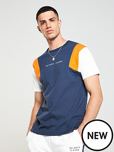 v-by-very-panel-sleeve-t-shirt-navy