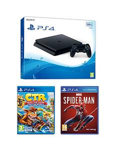 playstation-4-ps4-black-500gb-console-with-crash-team-racing-nitro-fuelled-and-spider-man-and-optional-extras