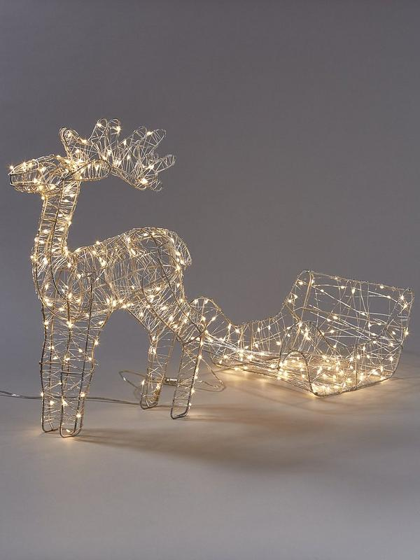 Noma Reindeer And Sleigh Lit Christmas