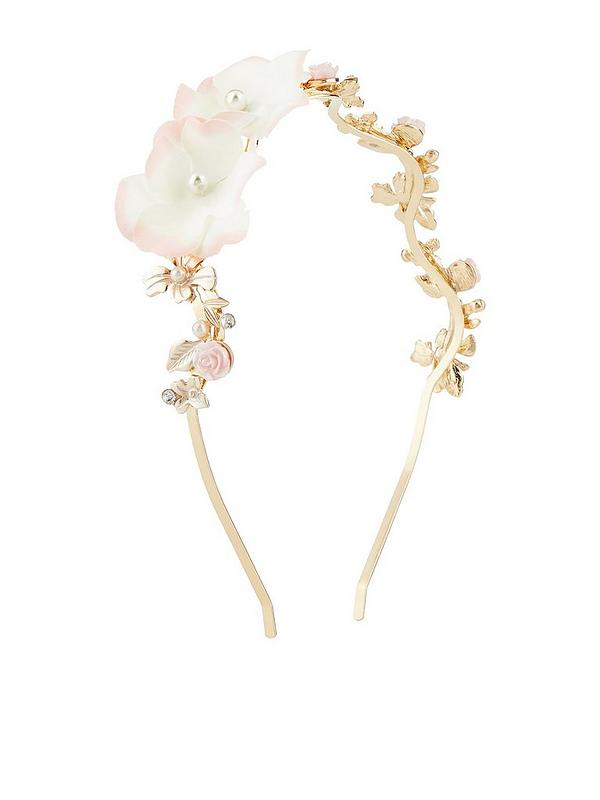 Girls Enchantment Flower Alice Hairband - Gold