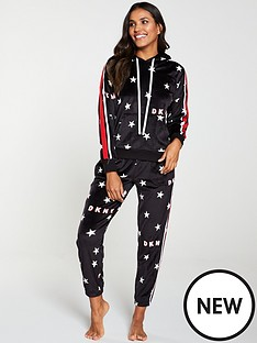 dkny-urban-star-hooded-logo-pyjama-top-black