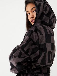 dkny-2-sided-check-logo-robe-black