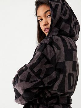 dkny-2-sided-check-logo-robe-black