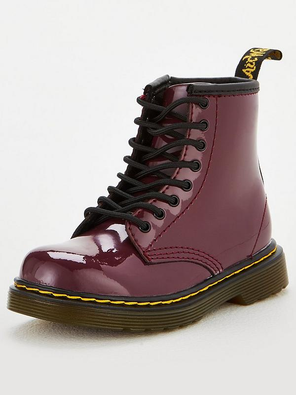 Girls 1460 Plum Patent 8 Lace Up Boots Plum