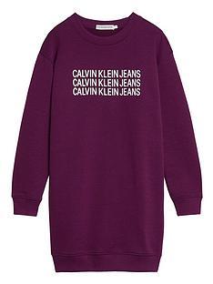 calvin-klein-jeans-girls-triple-logo-sweat-dress-purple