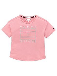 tommy-hilfiger-girls-foil-logo-short-sleeve-t-shirt-pink