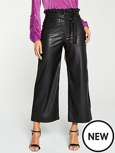 v-by-very-faux-leather-belted-wide-leg-crop-trouser-black