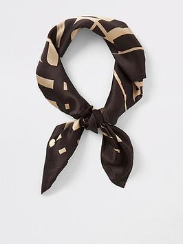 river-island-river-island-monogram-lightweight-scarf-brown