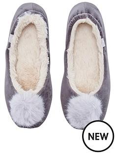 joules-pombury-velvet-ballet-slipper-with-pom-pom-light-grey