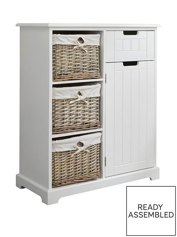 White Tallboy Storage Unit Wicker, Wicker Bathroom Shelving Units