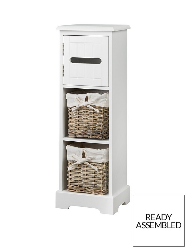 innovative design ec857 01517 Burford Ready Assembled Painted Narrow Bathroom Storage Unit - White