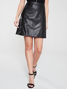 warehouse-warehouse-seamed-detail-pu-a-line-mini-skirt