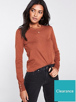 warehouse-button-cuff-crew-neck-jumper-tan